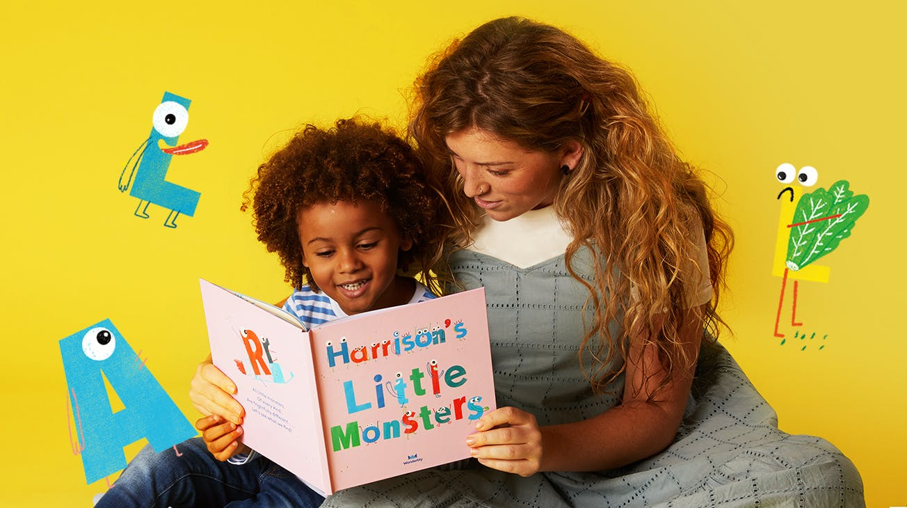 Mother and Child reading My Little Monsters