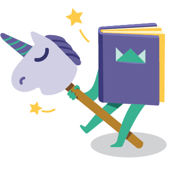 "Icon ""Personalized"" - book and unicorn"